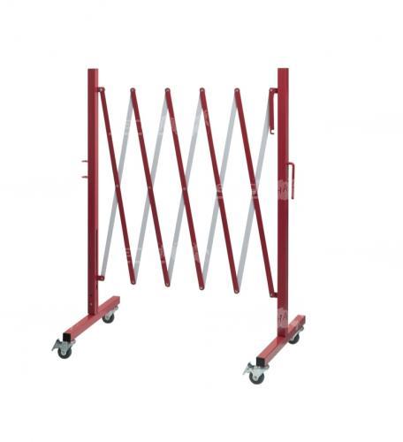 Ограждение разложенное длинной 2.5 метра красно белого цвета из стали