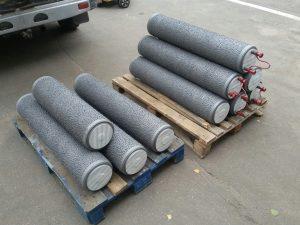 Восстановленные ролики для тормозных стендов перед покраской